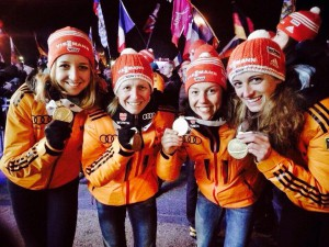 Biathlon Goldmedaille Staffel 2015